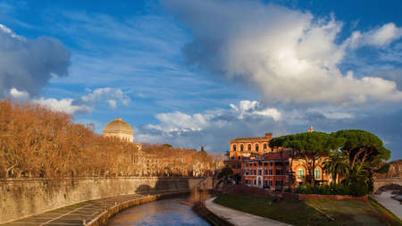 Winter view of Tiber Island and Rome Synagogue dome with beautiful sky Stock Photo