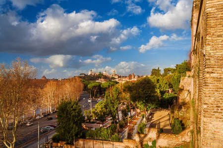 Winter view of Capitoline Hill monuments and Rome historic center skyline from Aventine Hill panoramic terraces