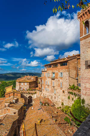 View of Perugia medieval historic center with ancient Eburnea Gate and Umbria countryside from city panoramic terrace Foto de archivo