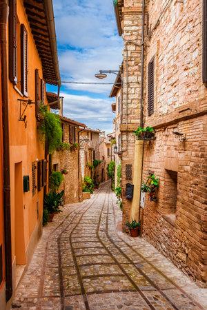 Characteristic lane in Spello beautiful historic center