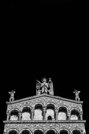 Saint Micheal in Foro Church beautiful medieval romanesque facade in the city of Lucca, Tuscany, erected in the 13th century (Black and White with copy space above)