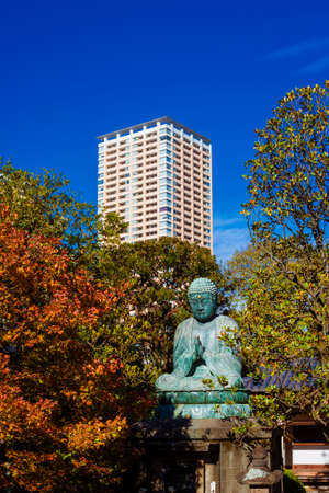 Japan between tradition and modernity. Ancient Yanaka Great Buddha with autumn leaves and modern building in Tokyo