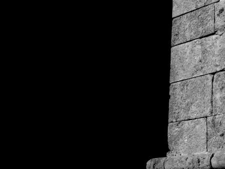 Renaissance bastion or bulwark ancient wall as backgorund (Black and White with copy space)
