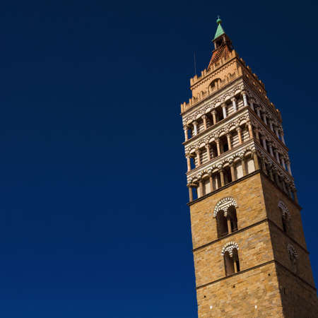 Pistoia cathedral medieval bell tower, a city landmark, erected in the 12th century (with copy space)