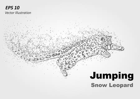 strive for: Particle jumping snow leopard -stock vector illustration. Illustration