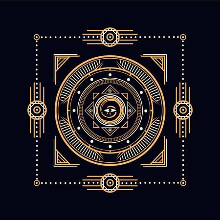 Conception de symboles sacrés - Illustration géométrique abstraite - éléments or et blancs sur fond sombre. Vecteur de géométrie sacrée.