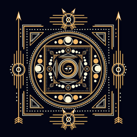 canvas print: Sacred Symbols Design - Abstract Geometric Illustration - Gold and White Elements on Dark  Sacred geometry