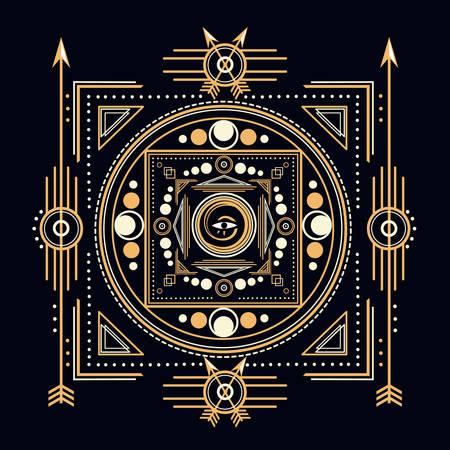 Sacred Symbols Design - Abstract Geometric Illustration - Gold and White Elements on Dark  Sacred geometry