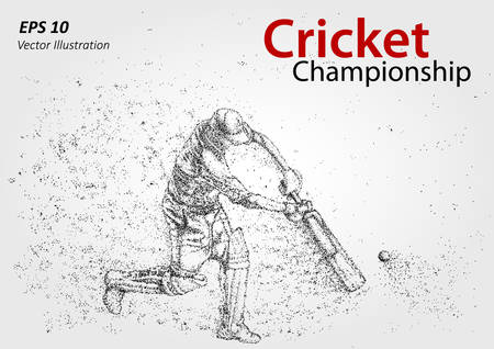 mania: Cricket player silhouette, particles. Cricket championship. Illustration of  playing cricket - stock