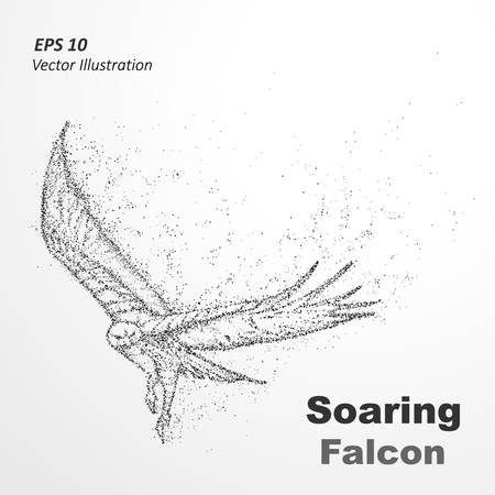strive for: Particle silhouette of Soaring Falcon. The layout of a flying eagle made of dots -stock  illustration.