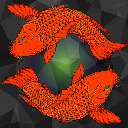 koi: Zodiac sign Pisces on a low poly background. A Golden fish print. Isolated vector illustration. Illustration
