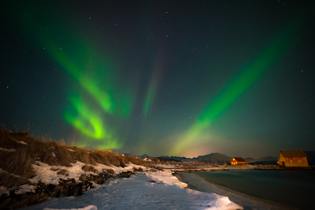 Admire to the northern lights from the beach, by the north sea with the snow is unmatched