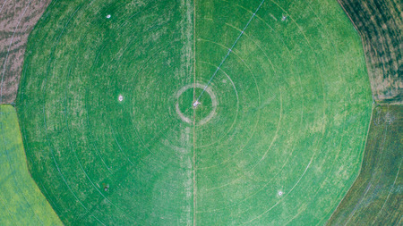 circle cultivation fields seen from the drone in new zealand 版權商用圖片 - 94999853