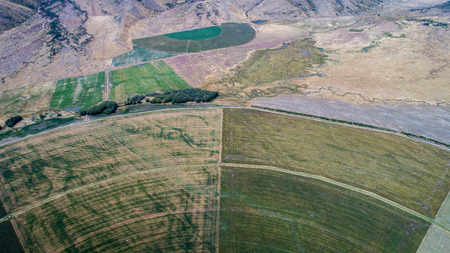 circle cultivation fields seen from the drone in new zealand Archivio Fotografico - 95072812