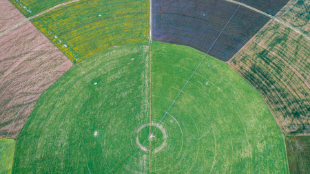 circle cultivation fields seen from the drone in new zealand 版權商用圖片 - 95072813