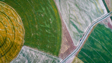 circle cultivation fields seen from the drone in new zealand