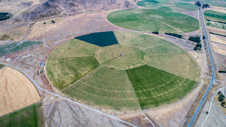 circle cultivation from the drone in new zealand 版權商用圖片