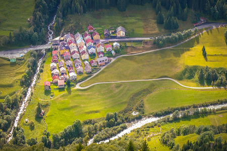 village with colorful houses in switzerland