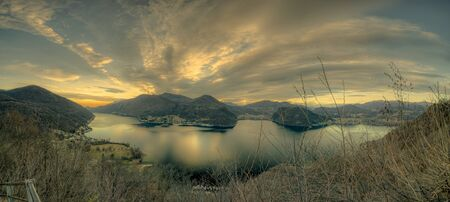 lugano lake landscape 版權商用圖片 - 128973237