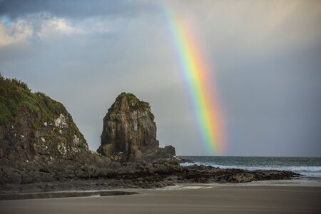 rainbow on New Zealand beaches 版權商用圖片
