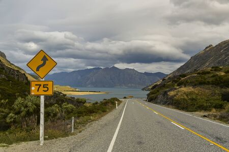 the road that leads to Lake Hawea