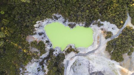 Green lake seen from the drone in the Waikite valley