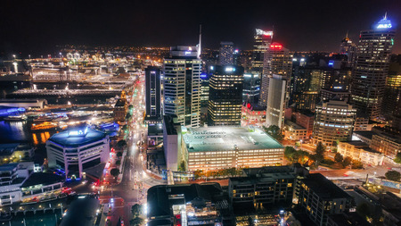 Auckland at night seen from the drone