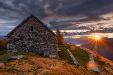 beautiful sunset from the hut on top of a Swiss mountain