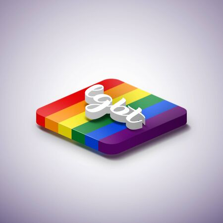 LGBT symbol with 3D floating text. 3D icon