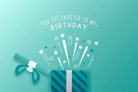 Birthday invitation card to write name, date and place. Surprise blue Imagens