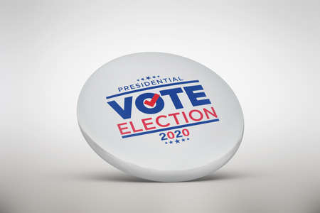 Vote on election day red, white and blue with stars circular poster or pin-back button Stock fotó