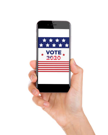 Vote on election day red, white and blue with stars circular phone