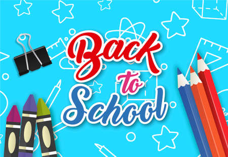 Back to school vector banner design with colorful funny school characters and educational items. Vector illustration. Vector 矢量图像