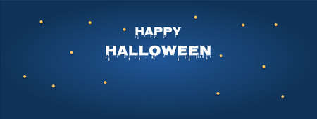 Halloween sale promotion banner with blue background. Vector illustration.