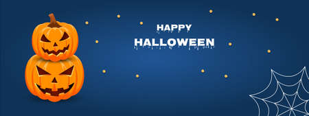 Halloween sale promotion banner with pumpkins, spiderweb and blue background. Vector illustration.