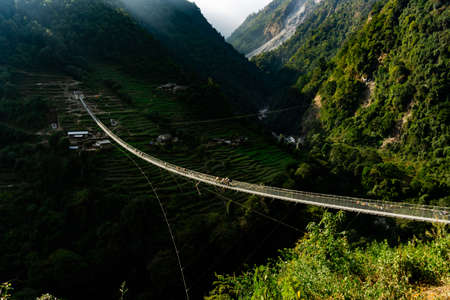 New Bridge: the longest suspension bridge in Himalaya mountain range in Nepal