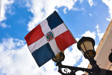 santo: Dominican flag Calle el Conde, Santo Domingo, Dominican Republic Stock Photo