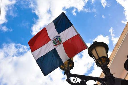 conde: Dominican flag Calle el Conde, Santo Domingo, Dominican Republic Stock Photo