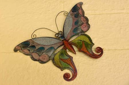 aluminum: Butterfly in aluminum leaf Stock Photo
