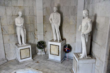 homeland: Statues of Altar de la Patria, The Altar of the Homeland. Houses the remains of the founding fathers of the Dominican Republic Duarte, Sanchez, Mella. Editorial