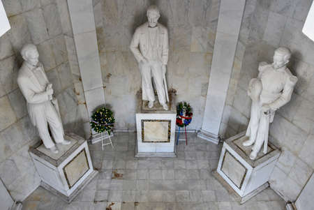 Statues of Altar de la Patria, The Altar of the Homeland. Houses the remains of the founding fathers of the Dominican Republic Duarte, Sanchez, Mella. Editorial