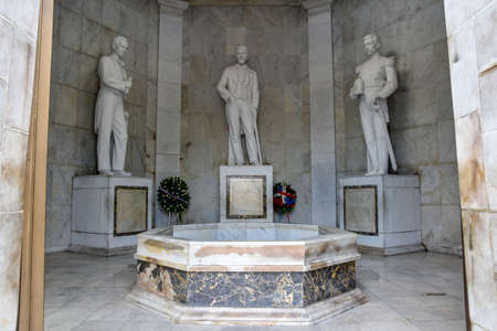 founding: Statues of Altar de la Patria, The Altar of the Homeland. Houses the remains of the founding fathers of the Dominican Republic Duarte, Sanchez, Mella. Editorial
