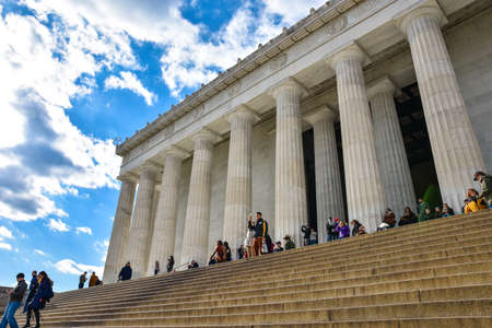 lincoln memorial: Front view of Lincoln Memorial with the names of American States. Editorial