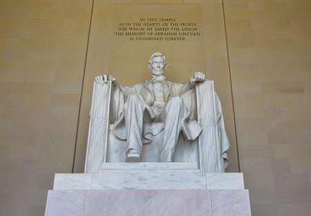 lincoln: Abraham Lincoln statue in the Lincoln Memorial in Washington DC, USA.