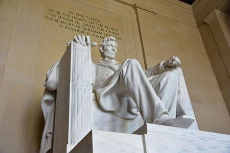 Abraham Lincoln statue in the Lincoln Memorial in Washington DC, USA.