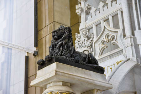 cristobal colon: Santo Domingo, Dominican Republic - January 30, 2016: Lion sculpture in Christopher Columbus Lighthouse.