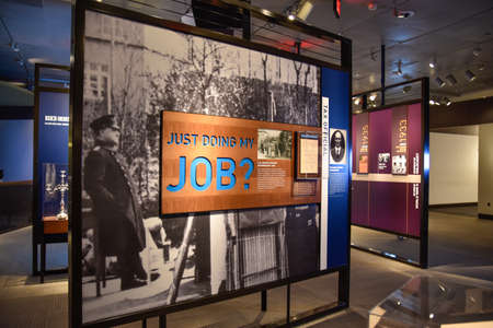 nazi: Washington DC, - December 19, 2015: Internal view of the Holocaust Memorial Museum. Real pictures of the deported Jews, Nazi propaganda, territory of conquest. Editorial