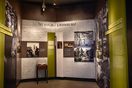 deported: Washington DC, - December 19, 2015: Internal view of the Holocaust Memorial Museum. Real pictures of the deported Jews, Nazi propaganda, territory of conquest. Editorial