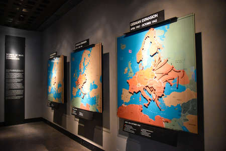 conquest: Washington DC - December 19, 2015: Internal view of the Holocaust Memorial Museum. Real pictures of the deported Jews, Nazi propaganda, territory of conquest.