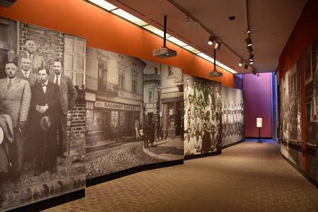 holocaust: Washington DC, - December 19, 2015: Internal view of the Holocaust Memorial Museum. Real pictures of the deported Jews, Nazi propaganda, territory of conquest. Editorial